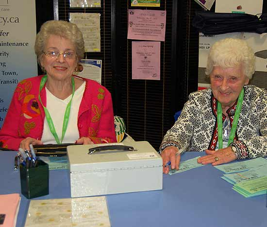 Helen Havelin and Teresa Kelly looking after the Agency Booth during the Arnprior Fair.