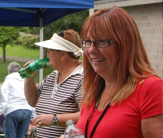 Julie Carroll looking pretty while helping out at the 2015 Seniors' BBQ in the Park.