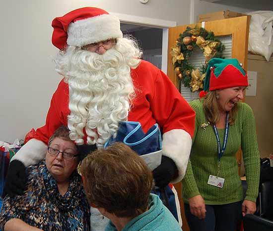 Nancy Strong with Santa